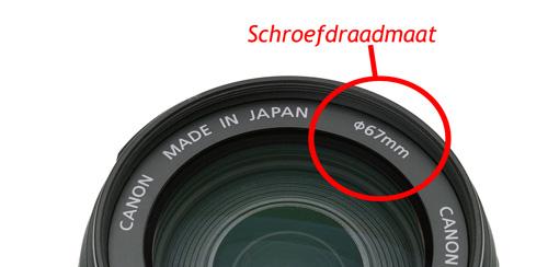 De schroefdraadmaat aanduiding op een Canon lens